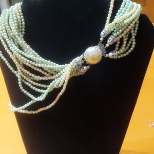 Vintage Light Green & White Multistrand Necklace